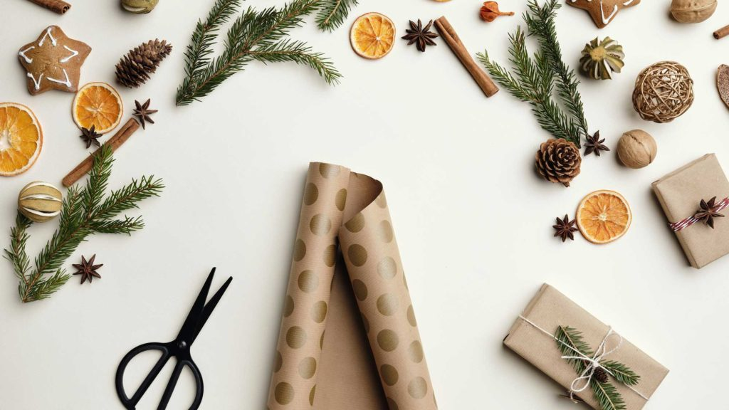 christmas scene of wrapping paper and scissors